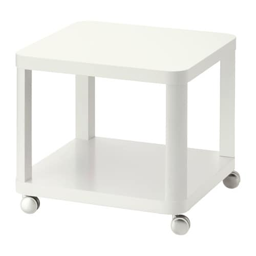 IKEA TINGBY side table on castors The castors make it easy to move the table if needed.