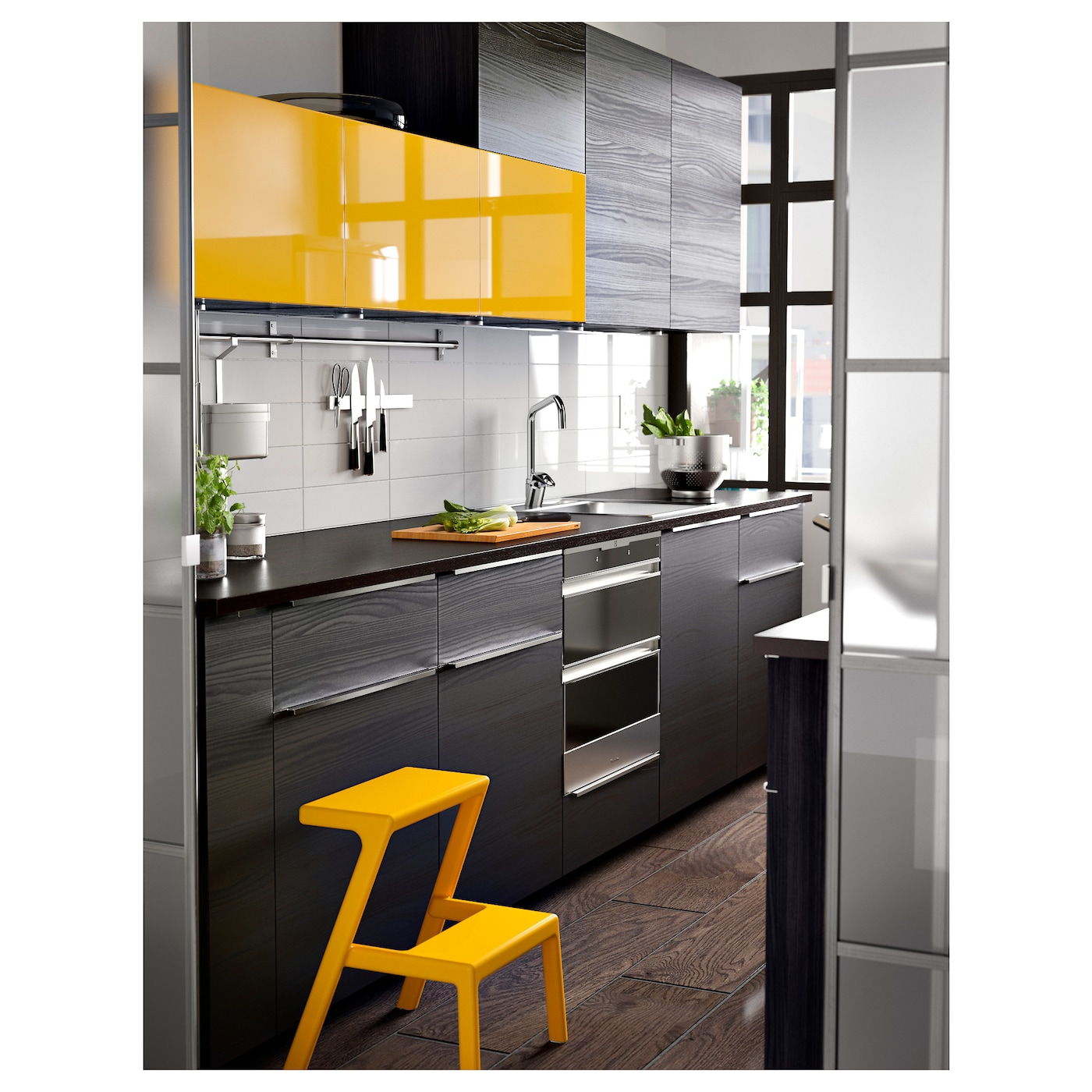 Ikea Yellow Kitchen Cabinets: TINGSRYD Drawer Front Wood Effect Black 60 X 20 Cm