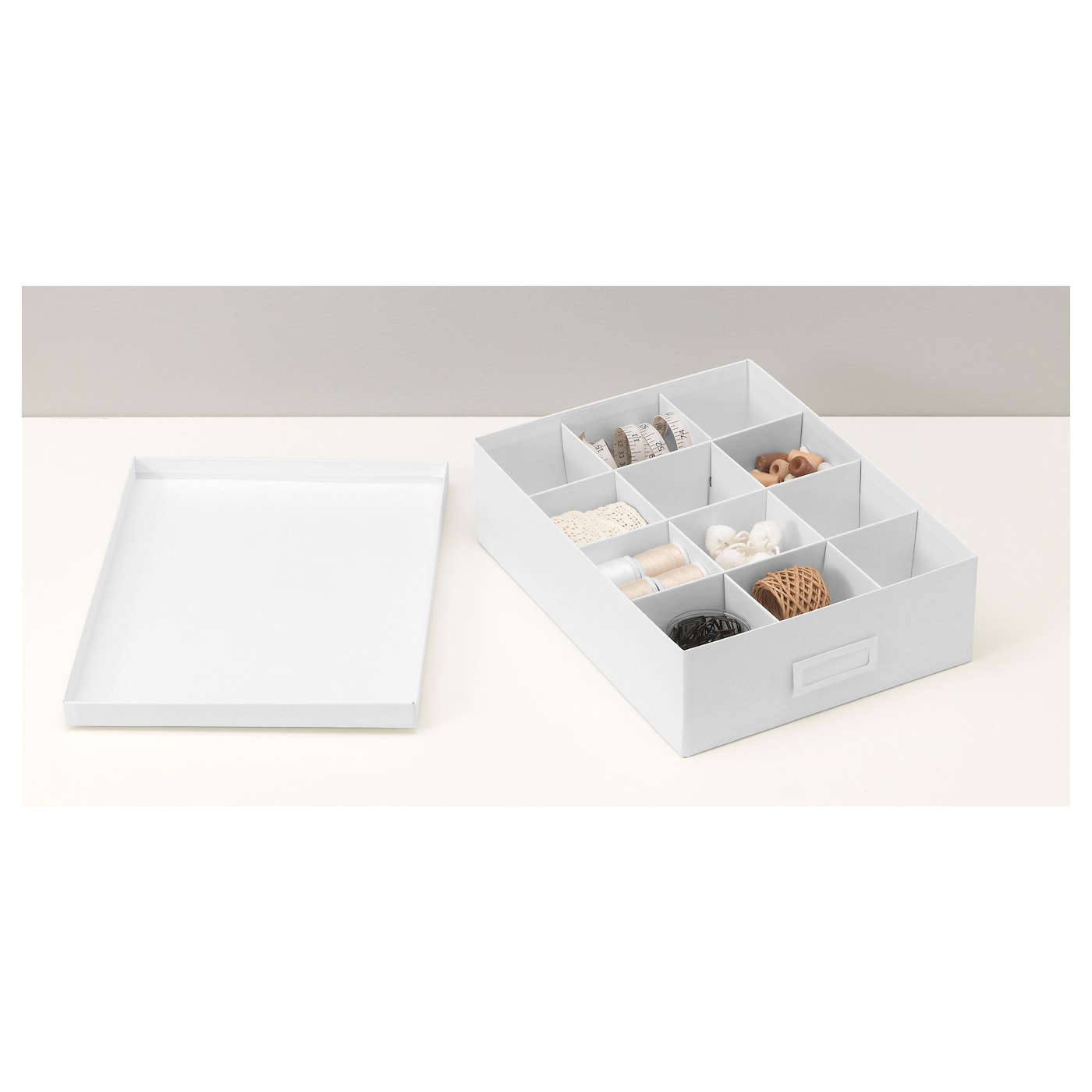 tjena box with compartments white 27x35x10 cm ikea