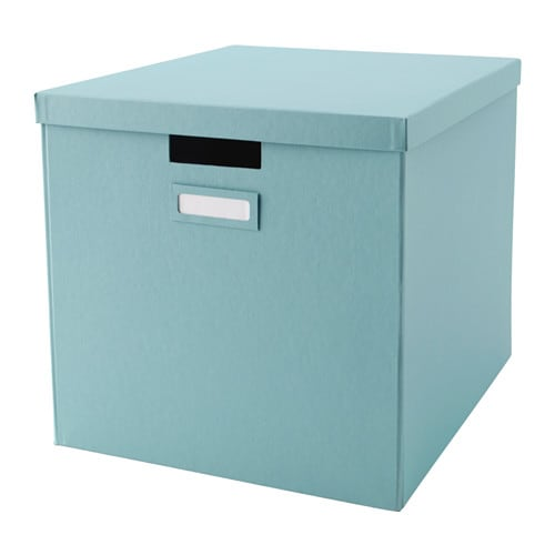 Tjena box with lid light blue 32x35x32 cm ikea for Cardboard drawers ikea