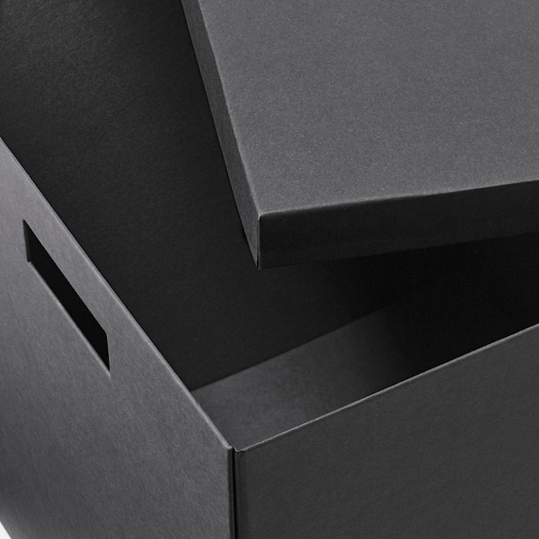 TJENA Storage box with lid, black, 32x35x32 cm