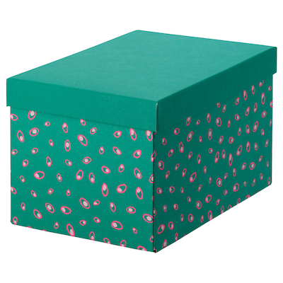 TJENA storage box with lid green dotted 25 cm 18 cm 15 cm