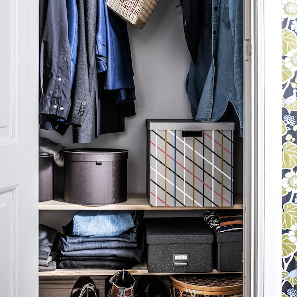 TJENA Storage box with lid, grey multicolour/paper, 32x35x32 cm