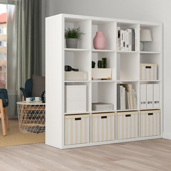 TJENA Storage box with lid, light beige stripe, 32x35x32 cm