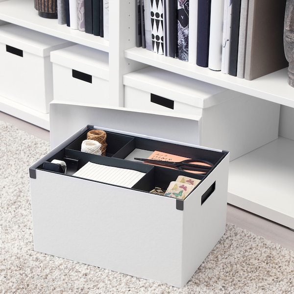 TJENA Storage box with lid, white, 25x35x20 cm