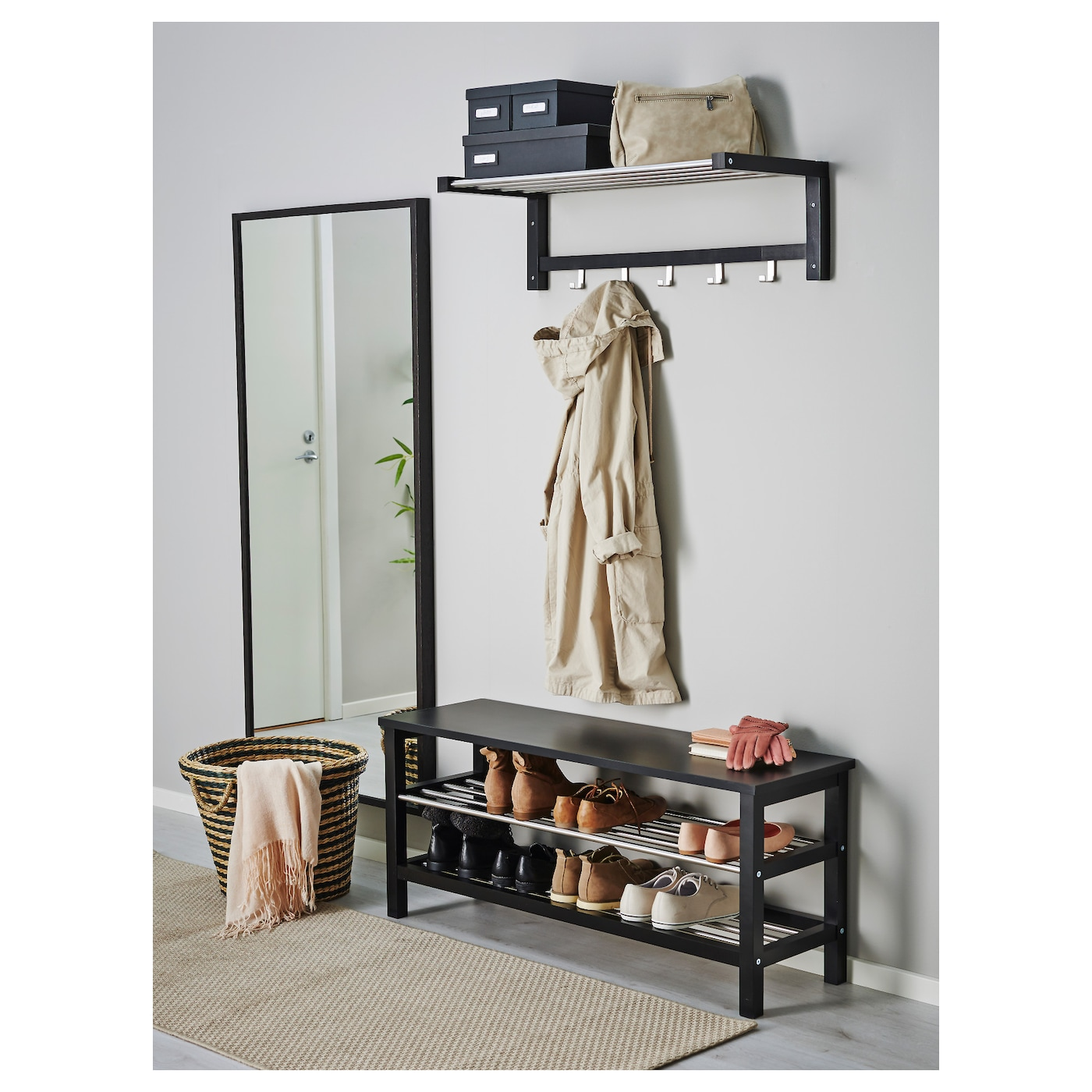 Tjusig bench with shoe storage black 108x50 cm ikea for Banco recibidor ikea