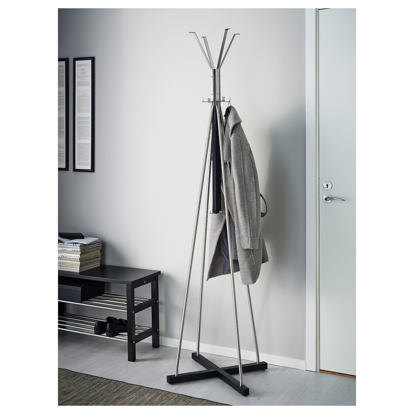 Tjusig hat and coat stand black 193 cm ikea for Ikea coat and hat rack