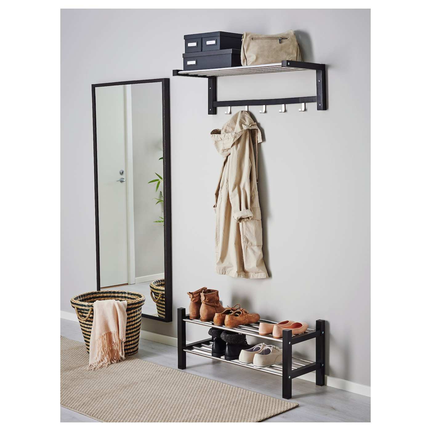 tjusig shoe rack black 79 cm ikea. Black Bedroom Furniture Sets. Home Design Ideas
