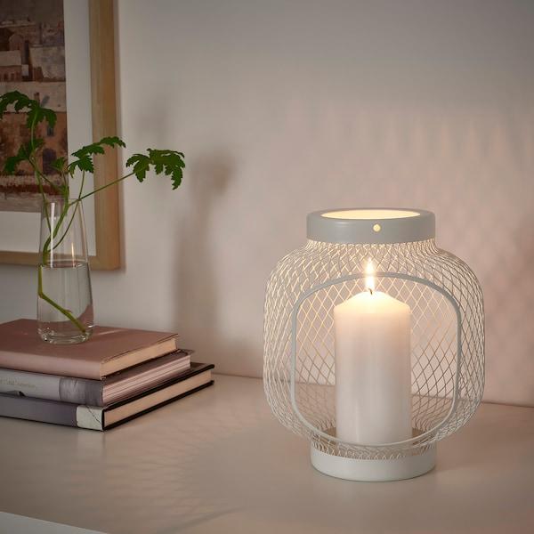 TOPPIG Lantern for block candle, white, 22 cm