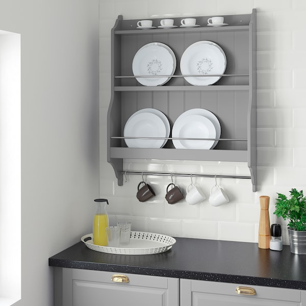 TORNVIKEN Plate shelf, grey, 80x100 cm