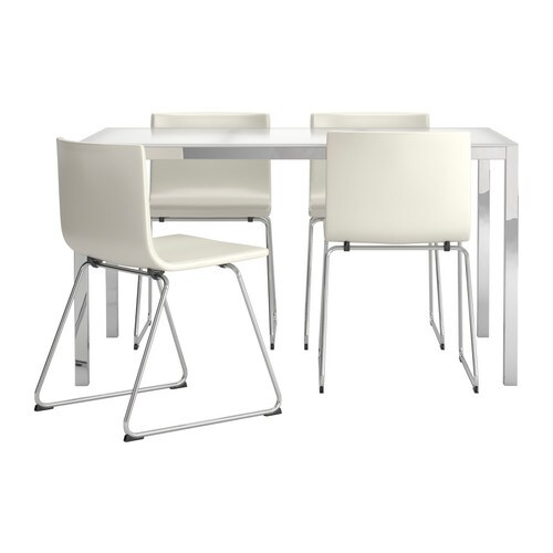 torsby bernhard table and 4 chairs glass white kavat white 135 cm ikea. Black Bedroom Furniture Sets. Home Design Ideas