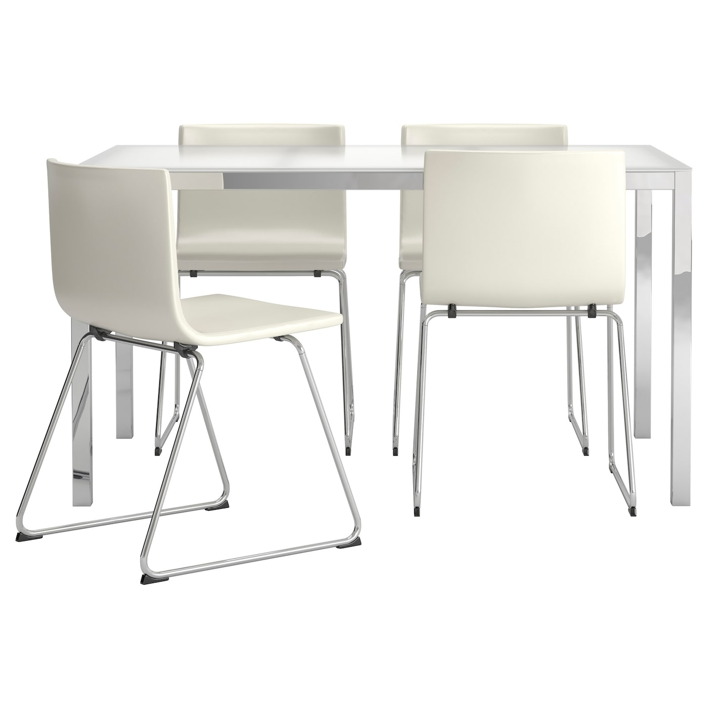 TORSBY BERNHARD Table And 4 Chairs Glass White Kavat White 135 Cm IKEA