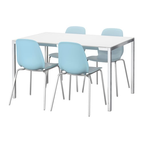 Torsby leifarne table and 4 chairs glass white light blue for Table 4 personnes ikea