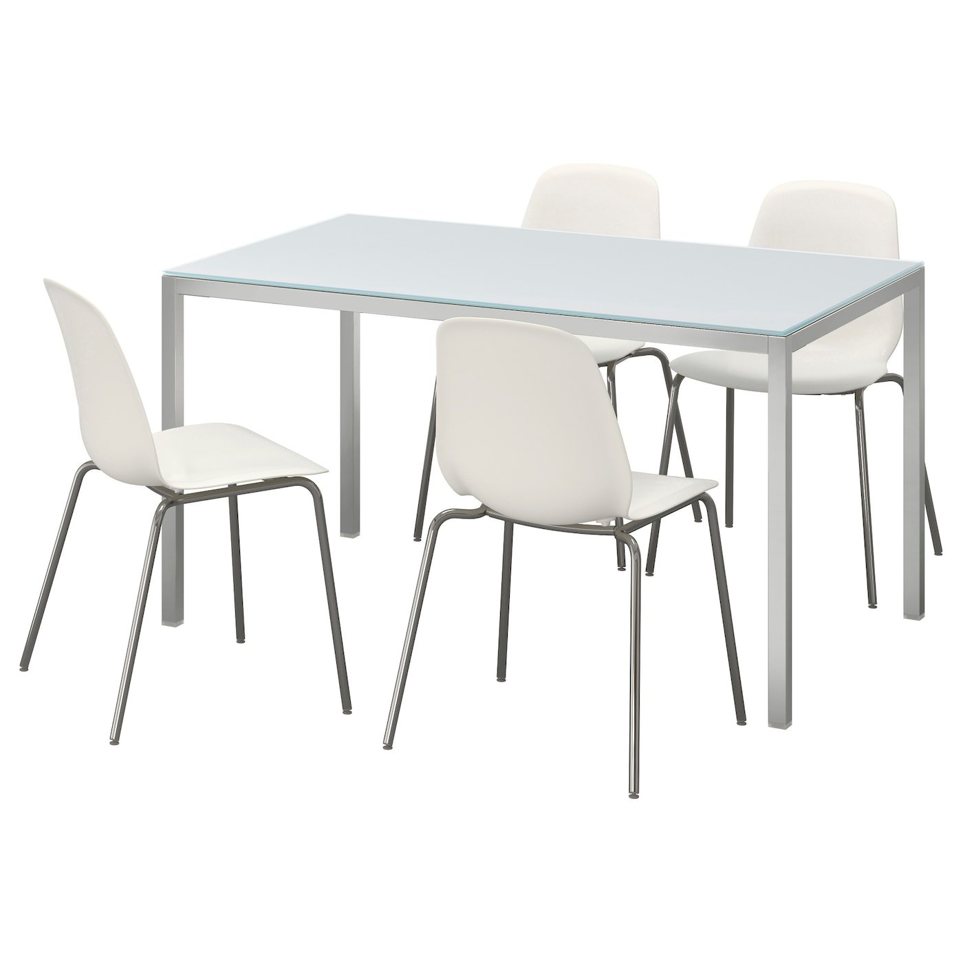 Torsby leifarne table and 4 chairs glass white white 135 for Chaise 65 cm ikea