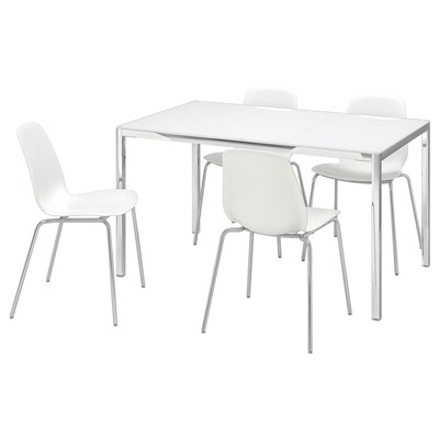 TORSBY / LEIFARNE Table and 4 chairs, glass white/white, 135 cm