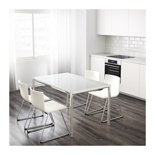 Torsby table chrome plated glass white 135x85 cm ikea for Tavolo torsby ikea
