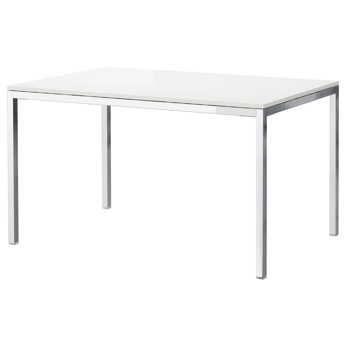 Torsby table chrome plated high gloss white 135x85 cm ikea for Base de table ikea