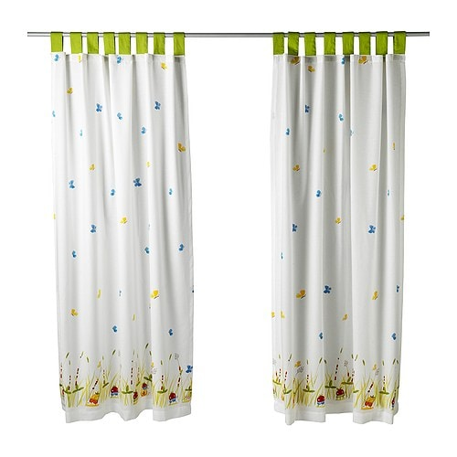 TORVA FJÄRIL Pair of curtains IKEA Ready for hanging up; ties at the top and hemmed at the bottom.