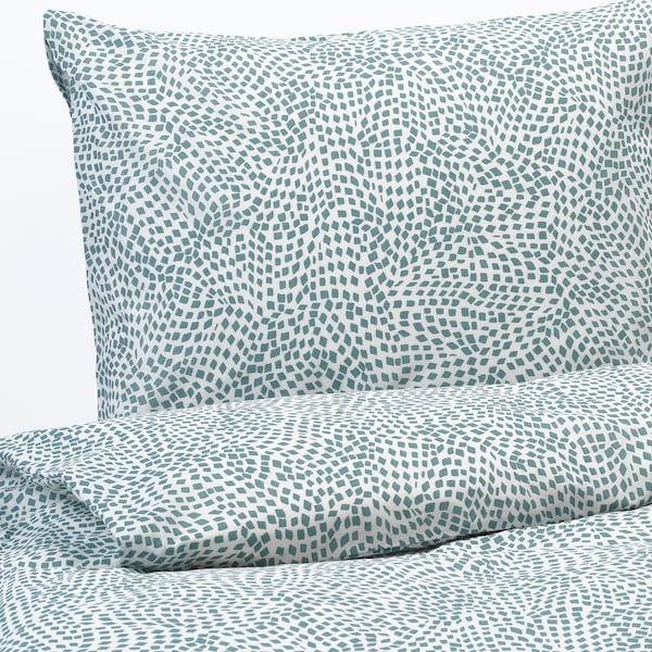 TRÄDKRASSULA Quilt cover and pillowcase, white/blue, 150x200/50x80 cm