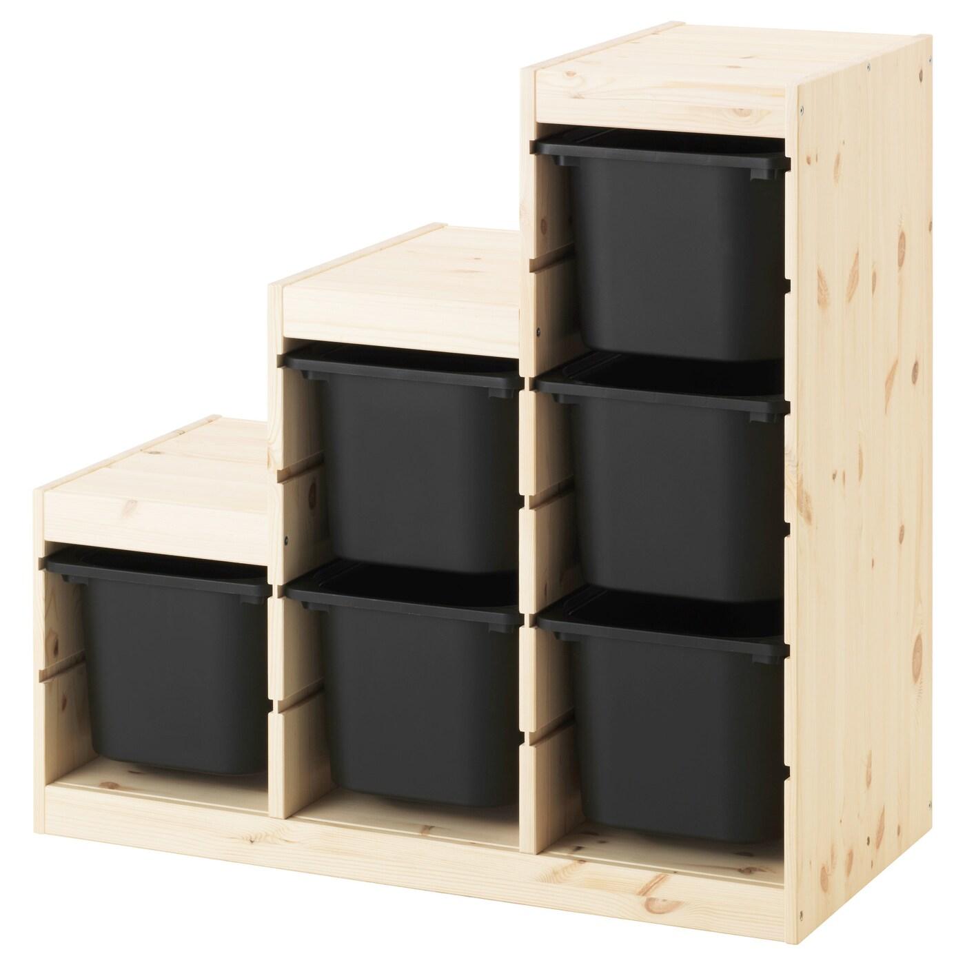 Trofast storage combination pine black 94x44x91 cm ikea - Escaleras para literas ikea ...