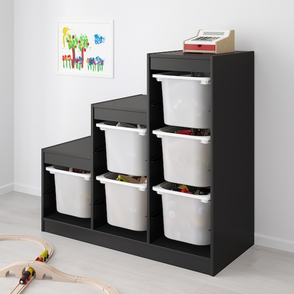 TROFAST Storage combination with boxes, black/white, 99x44x94 cm