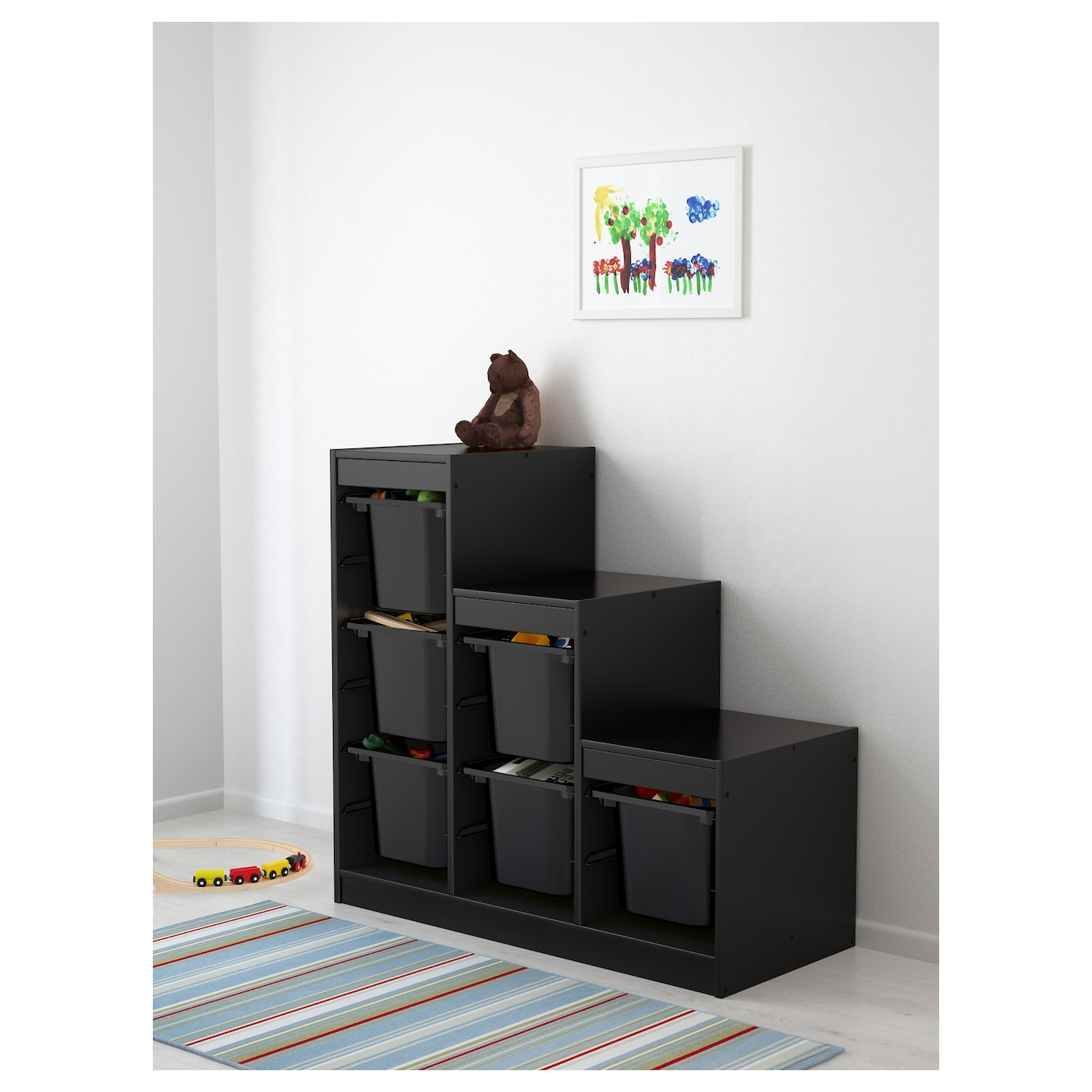 trofast storage combination with boxes black 99x44x94 cm. Black Bedroom Furniture Sets. Home Design Ideas
