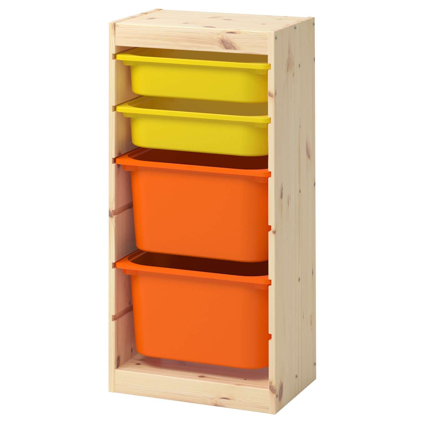 trofast storage combination with boxes light white stained pine orange yellow 44x30x91 cm ikea. Black Bedroom Furniture Sets. Home Design Ideas