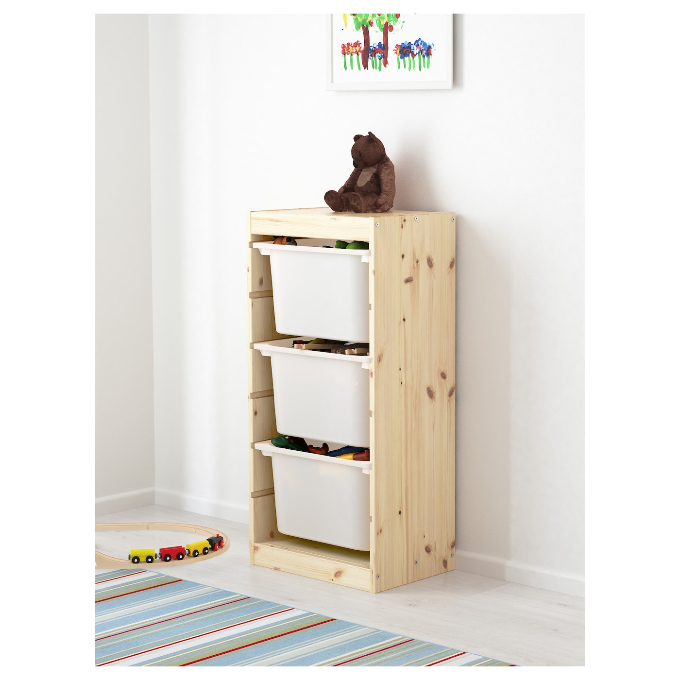 trofast storage combination with boxes pine white 44x30x91. Black Bedroom Furniture Sets. Home Design Ideas