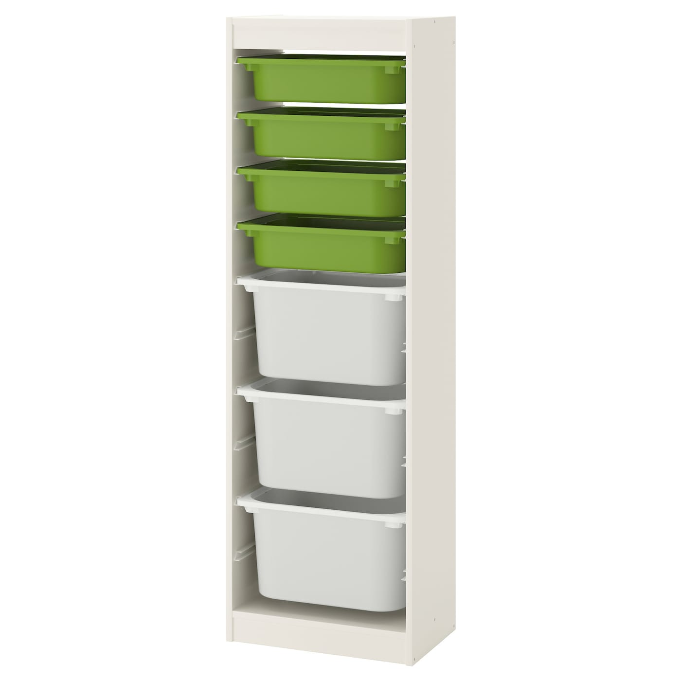 trofast storage combination with boxes white green white. Black Bedroom Furniture Sets. Home Design Ideas
