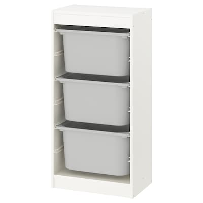 TROFAST Storage combination with boxes, white/grey, 46x30x94 cm