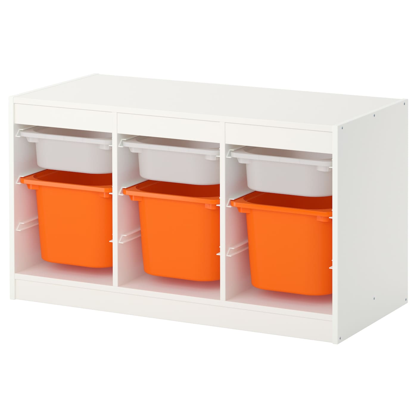 trofast storage combination with boxes white orange. Black Bedroom Furniture Sets. Home Design Ideas