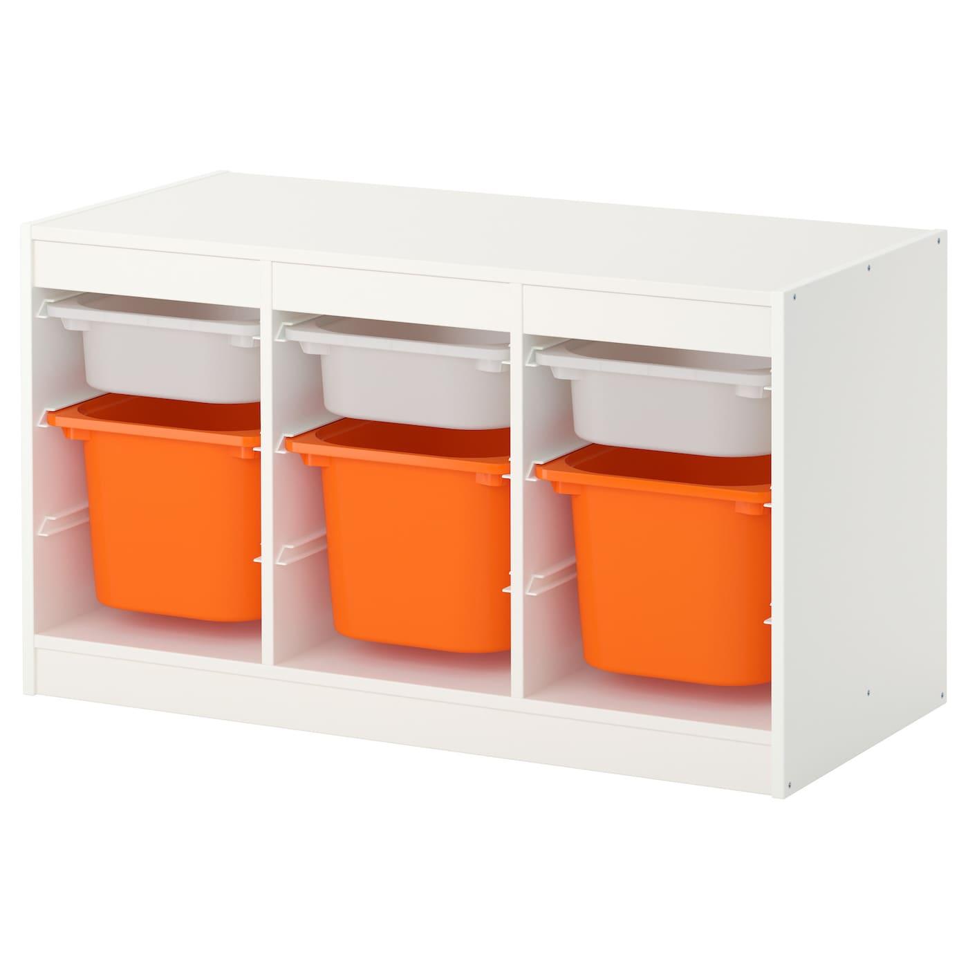 TROFAST Storage bination with boxes White orange 99x56x44 cm IKEA