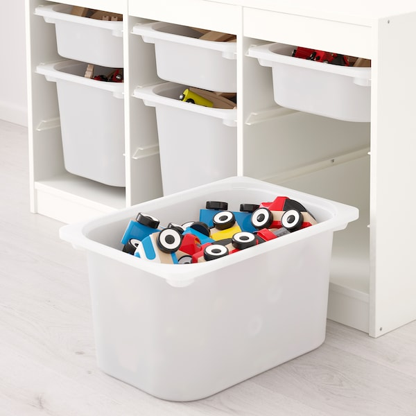 TROFAST Storage combination with boxes, white pink/white, 99x44x56 cm