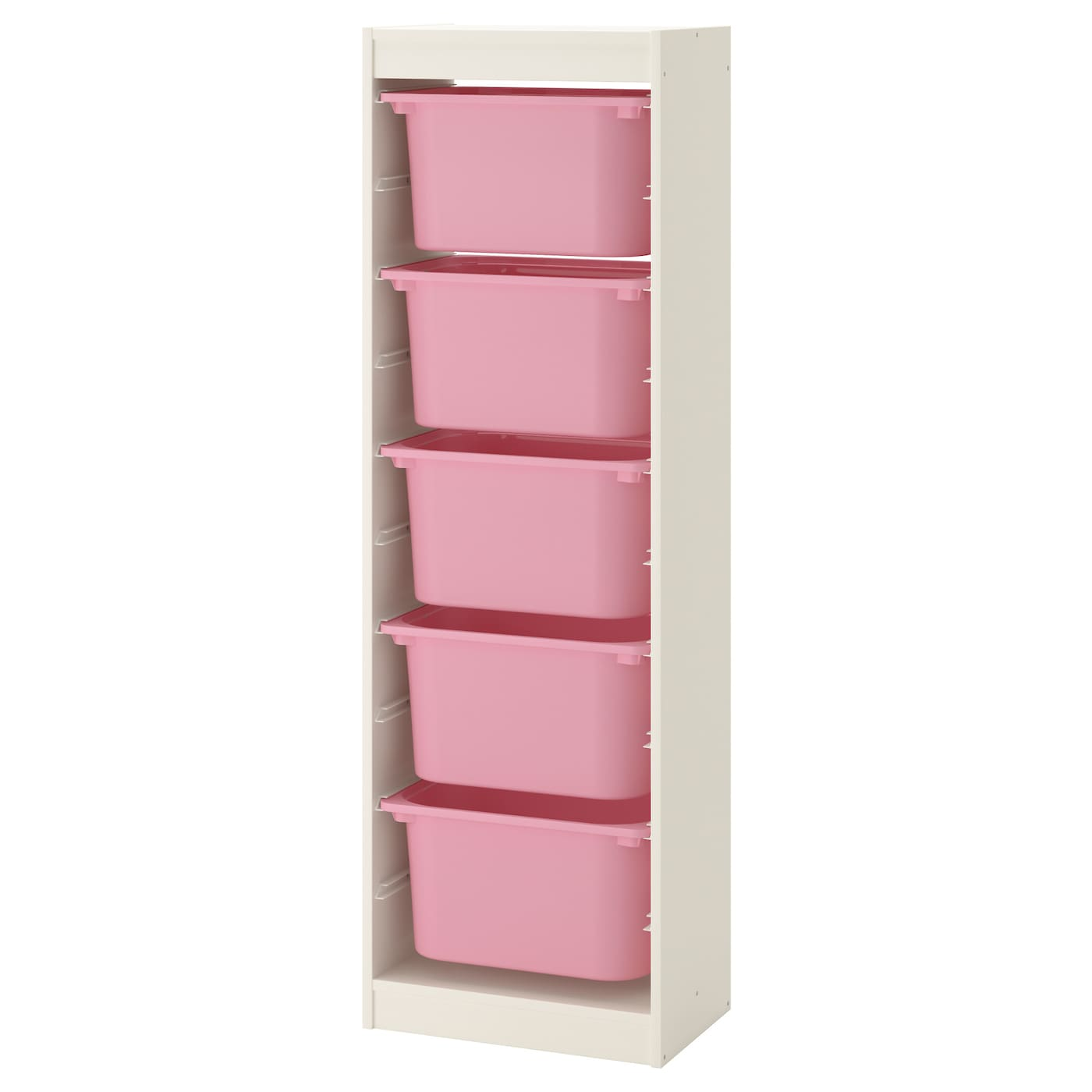 trofast storage combination with boxes white pink 46x30x145 cm ikea. Black Bedroom Furniture Sets. Home Design Ideas