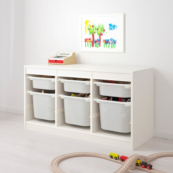 TROFAST Storage combination with boxes, white/turquoise, 99x44x56 cm