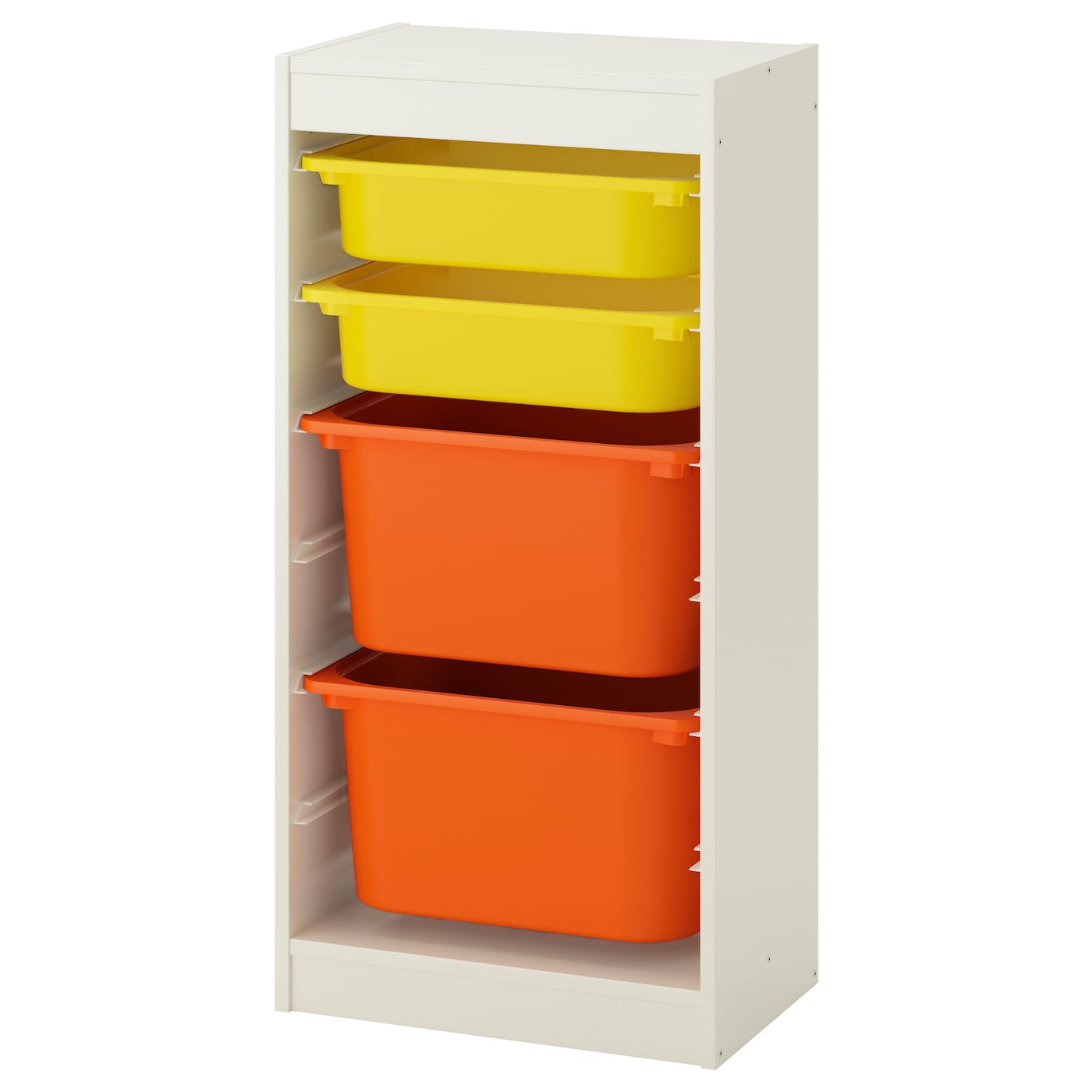 trofast storage combination with boxes white yellow orange 46x30x94 cm ikea. Black Bedroom Furniture Sets. Home Design Ideas