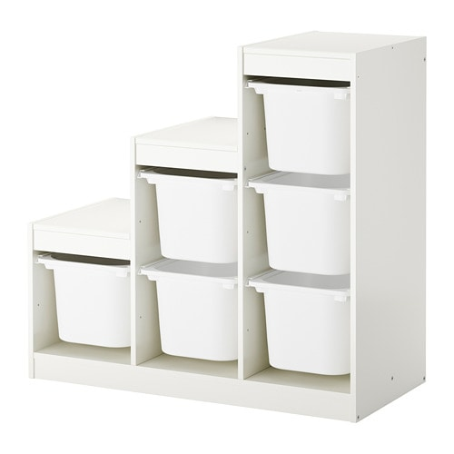Trofast Storage Combination With Boxes White 99x44x94 Cm