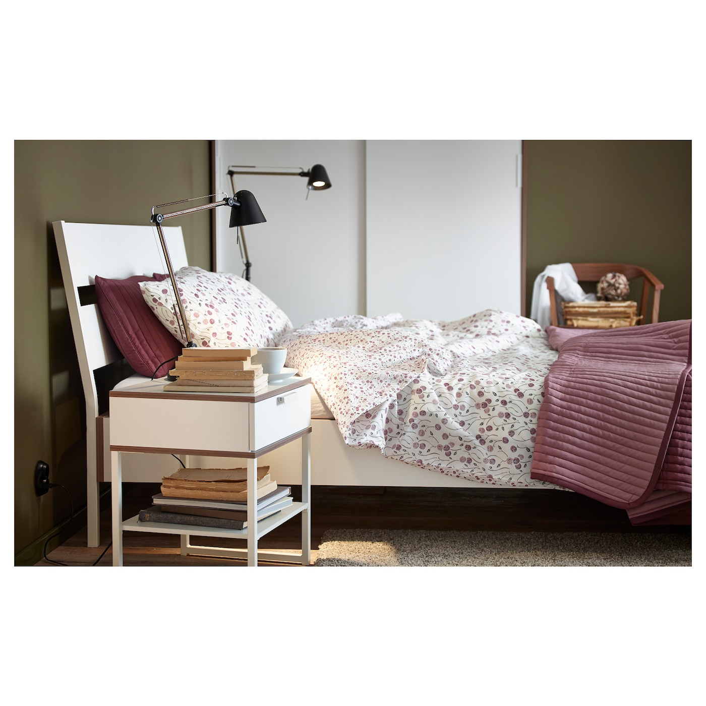 IKEA TRYSIL bed frame The angled headboard allows you to sit comfortably when reading in bed.
