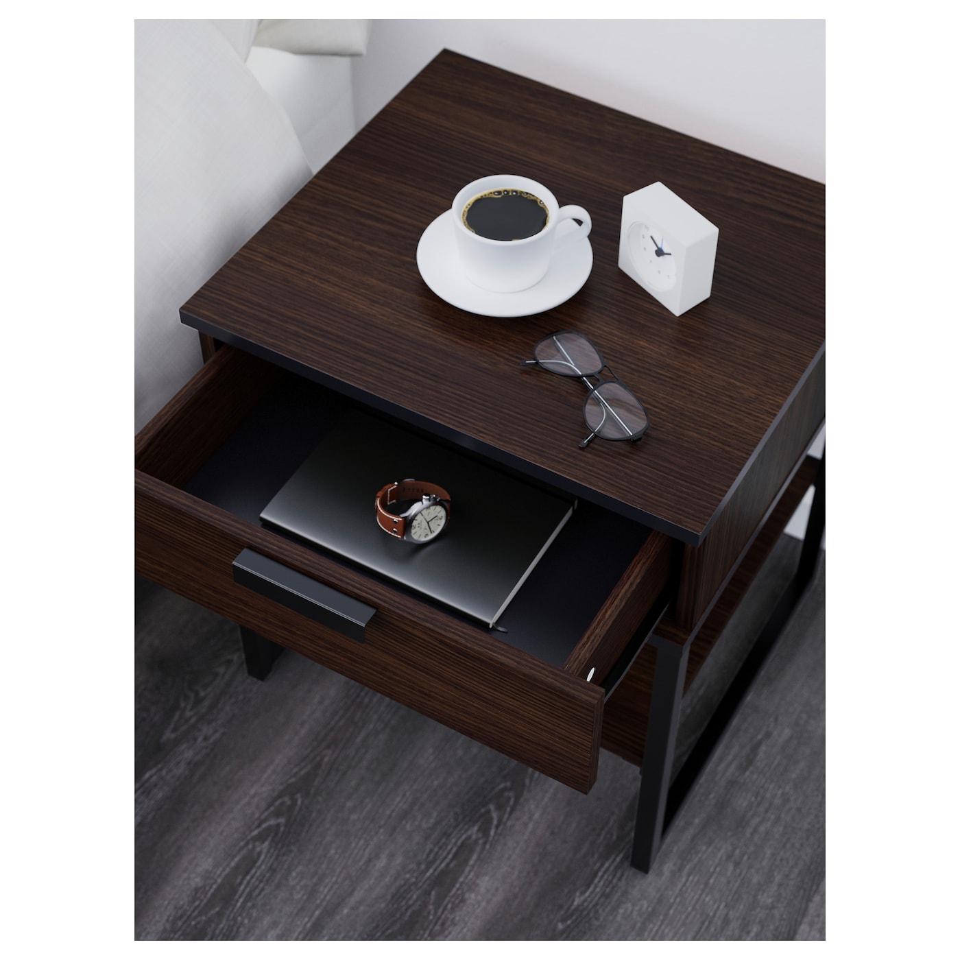 Hemnes Side Table Black Brown 55x55 Cm: TRYSIL Bedside Table Dark Brown/black 45x40 Cm