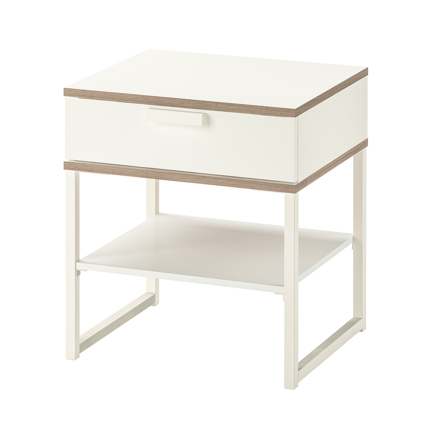 Trysil White Light Grey Bedside Table