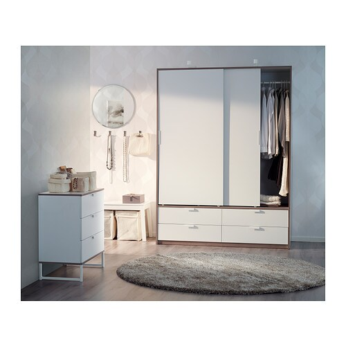 Trysil chest of 3 drawers white light grey 75x77 cm ikea - Ikea armoire 3 portes ...