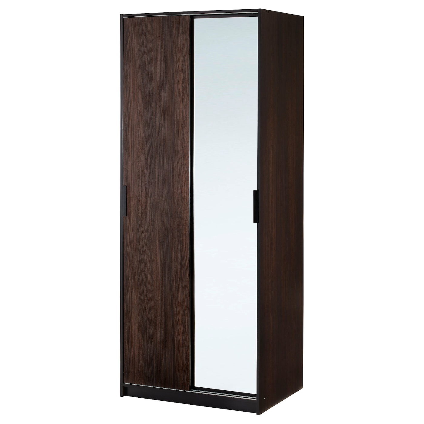 Trysil wardrobe w sliding doors 4 drawers white 118x61x202 for Armoire bois noir
