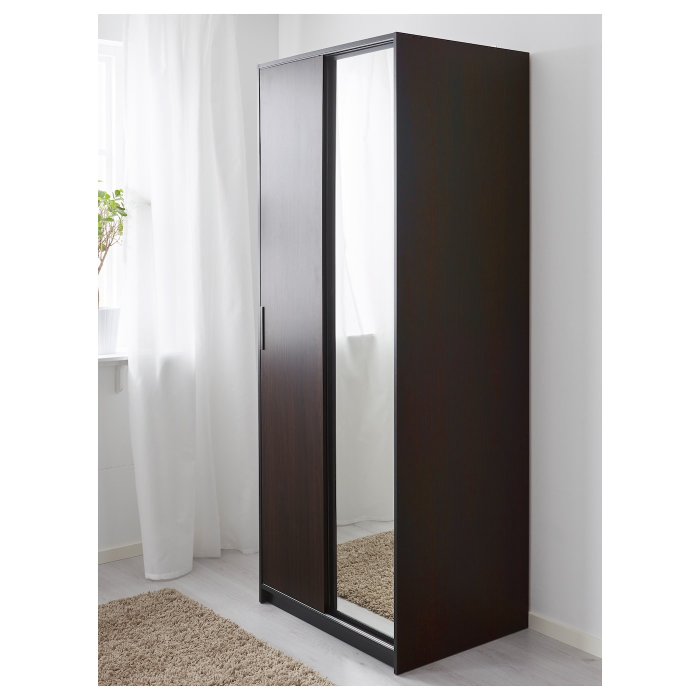 trysil wardrobe dark brown mirror glass 79x61x202 cm ikea. Black Bedroom Furniture Sets. Home Design Ideas