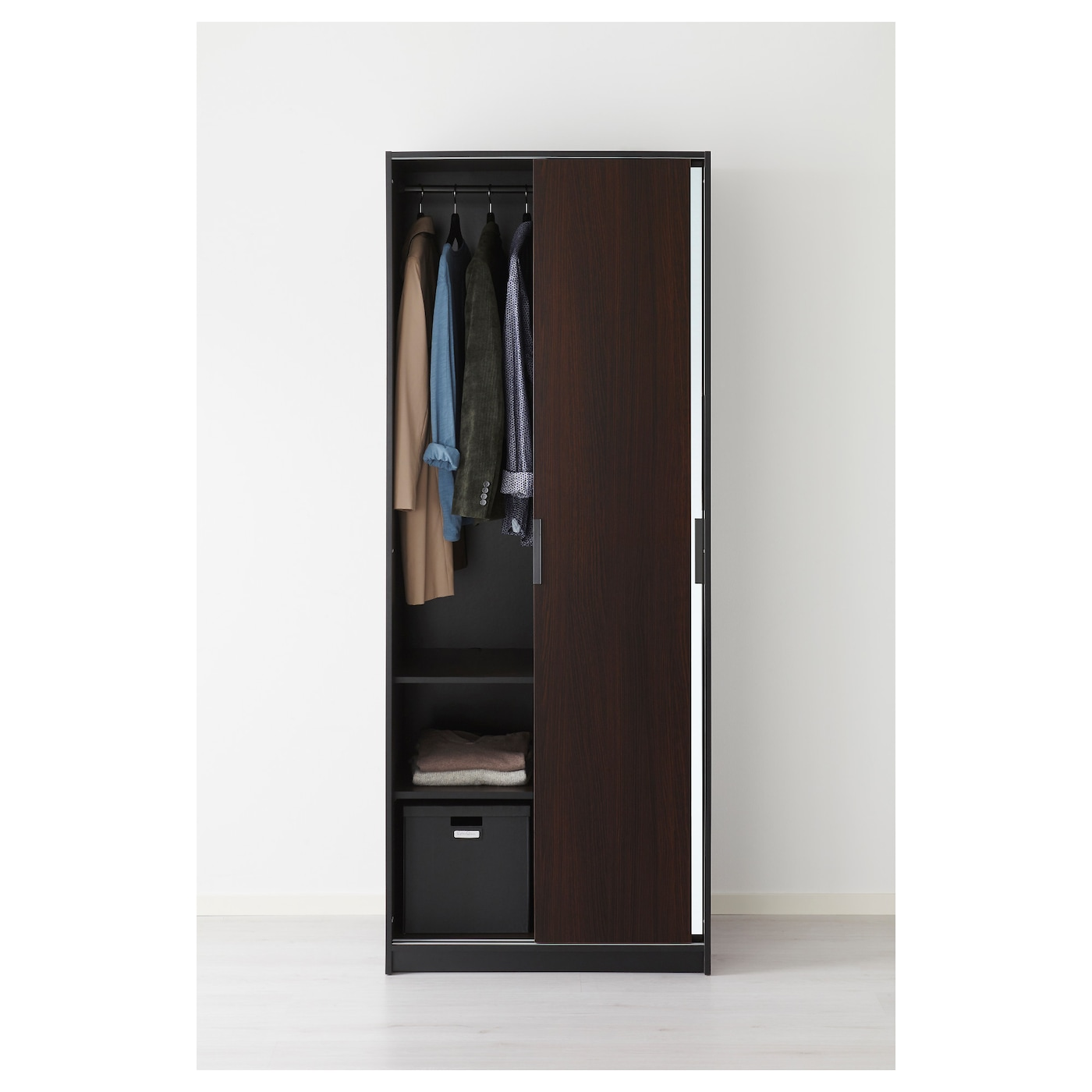 Trysil wardrobe dark brown mirror glass 79x61x202 cm ikea for Mirrors ikea usa