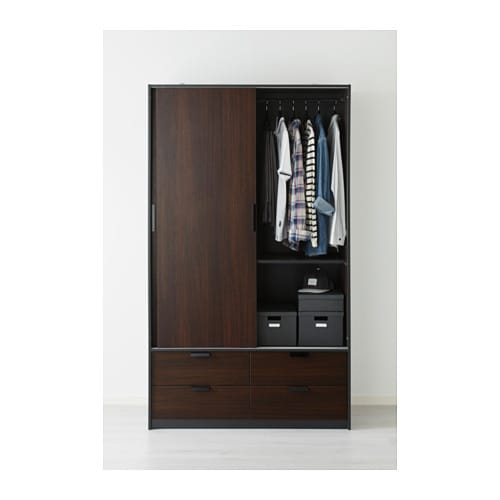 trysil wardrobe w sliding doors 4 drawers dark brown 118x61x202 cm ikea. Black Bedroom Furniture Sets. Home Design Ideas