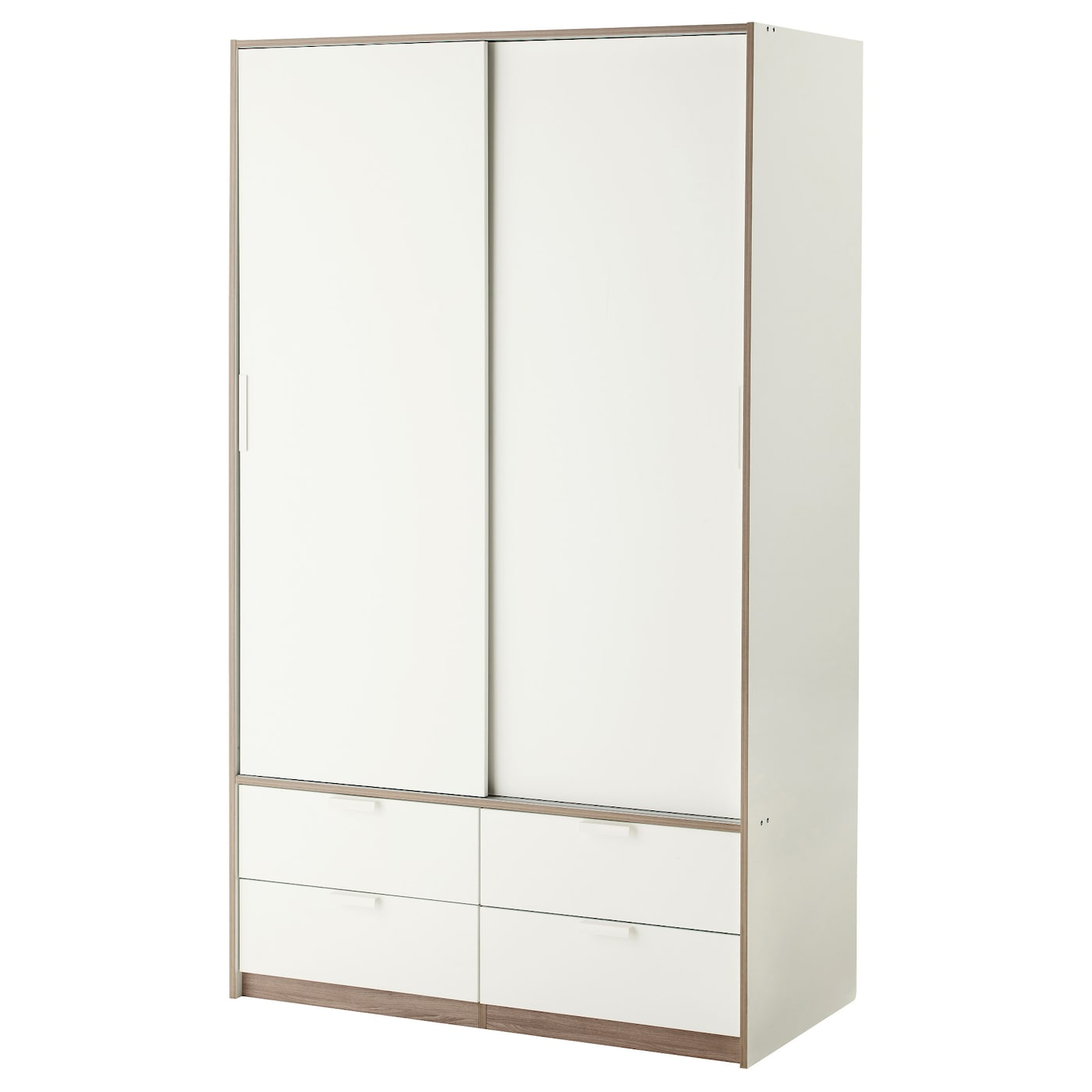 Trysil wardrobe w sliding doors 4 drawers white 118x61x202 for Spiegel 80 x 180