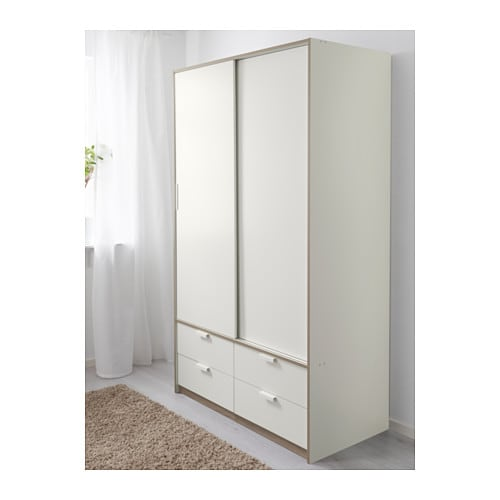 trysil wardrobe w sliding doors 4 drawers white 118x61x202. Black Bedroom Furniture Sets. Home Design Ideas