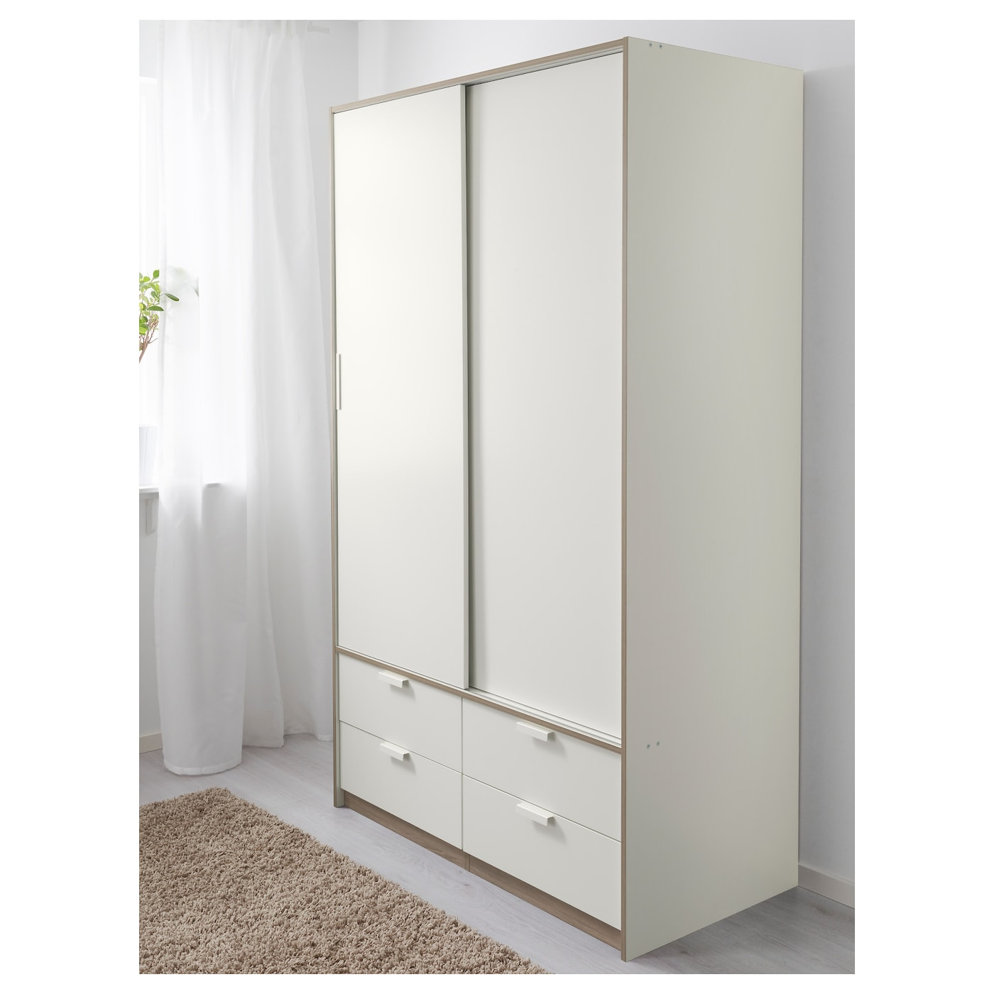 trysil wardrobe w sliding doors 4 drawers white 118 x 61 x. Black Bedroom Furniture Sets. Home Design Ideas