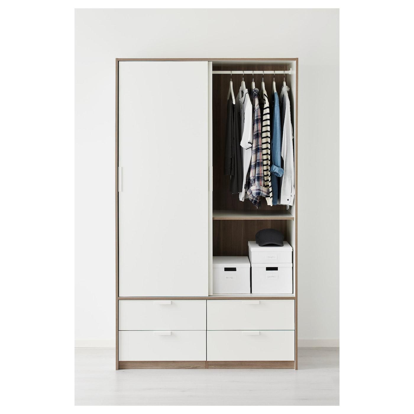 ikea trysil wardrobe w sliding doors 4 drawers smooth running drawers