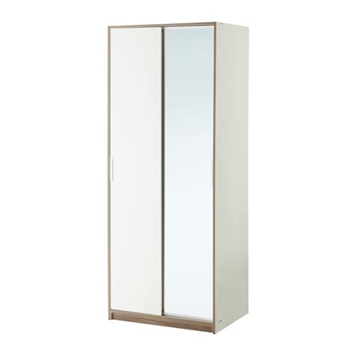 Trysil Wardrobe White Mirror Glass 79x61x202 Cm Ikea